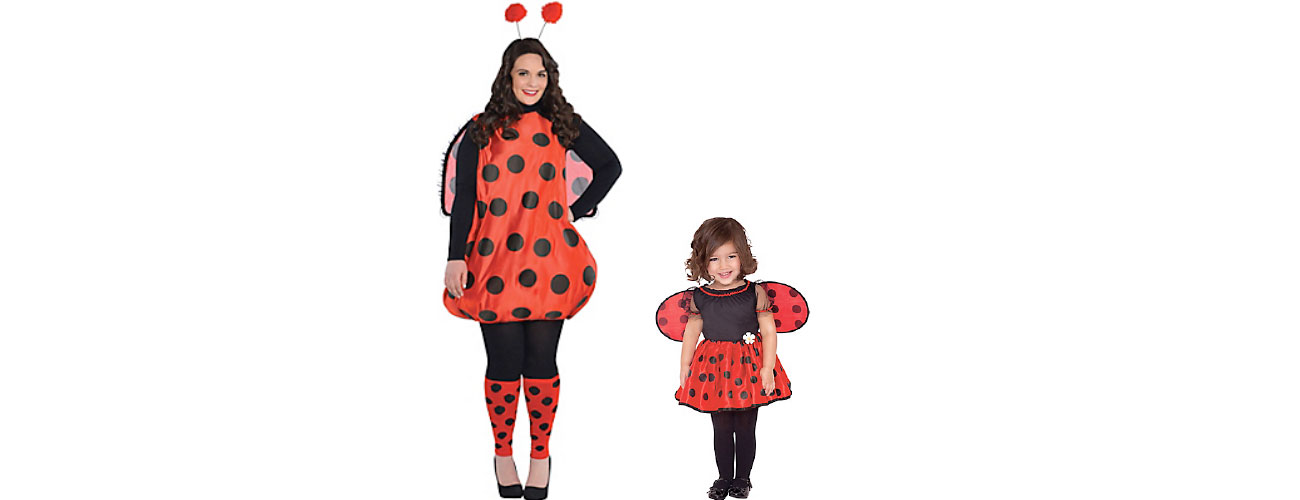Little Lady LadyBug and Adult Darling Ladybug found at Party City
